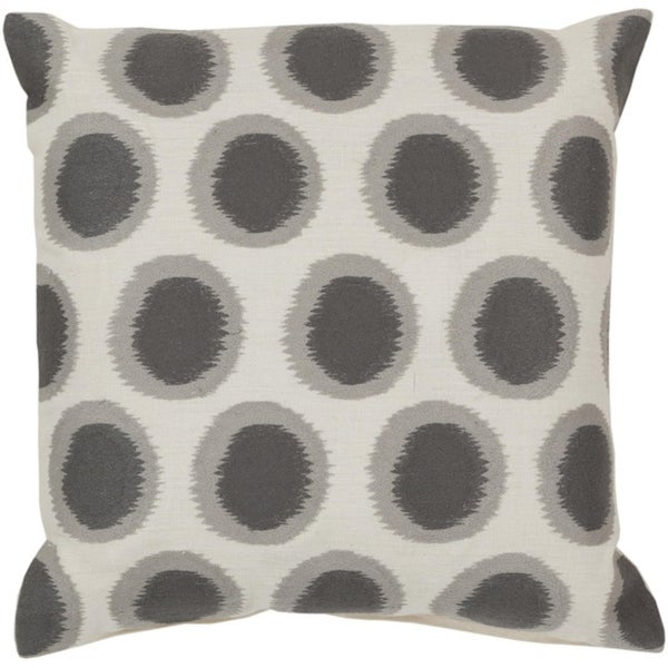 "22"" Ecliptic Cream White and Smoke Gray Decorative Square Throw Pillow - Down Filler"