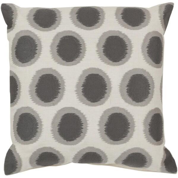 "22"" Ecliptic Cream White and Smoke Gray Decorative Square Throw Pillow"