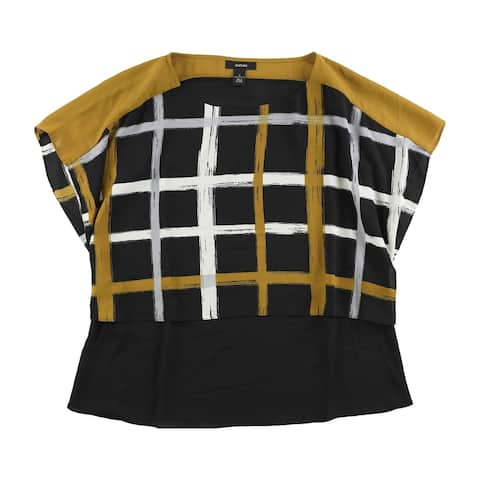 Alfani Womens Windowpane Kimono Top Blouse, black, 4