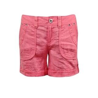 INC International Concepts Women's Cuffed Linen Shorts - acid lime