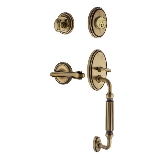 Nostalgic Warehouse CLAFLR_ESET_234_FG_LH Classic Left Handed Sectional Single Cylinder Keyed Entry Handleset with F Grip and