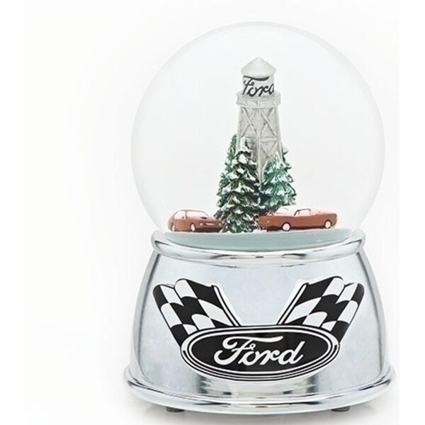 Set of 2 Musical Christmas Racing Car Glitter Dome 6""