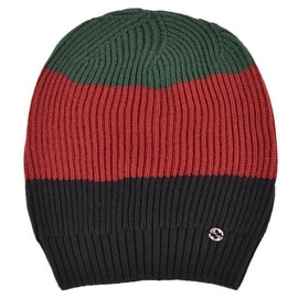 Gucci Men's 310777 Wool Red Green Black Interlocking GG Slouchy Beanie Hat