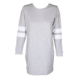 Material Girl Juniors Heather Grey White Stripe Long Sleeve Crew Neck Sweatshirt - m