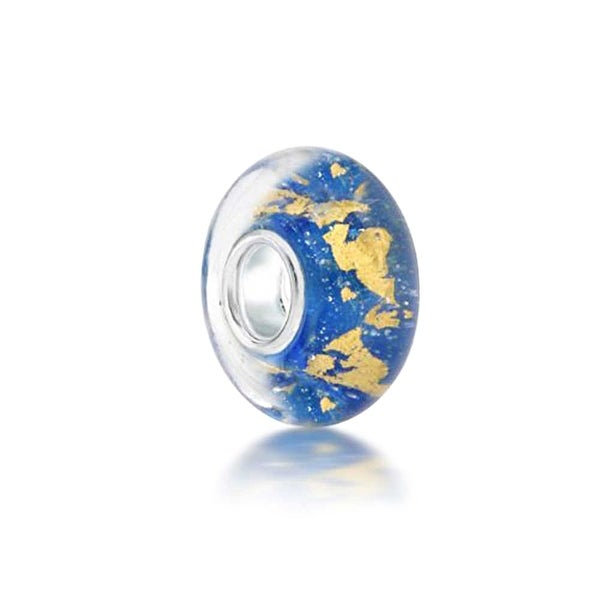 Queenberry Round Beach Blue with Gold-tone Foil Glass Sterling Silver Core European Style Bead Charm