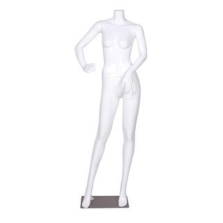 Costway Headless Female Mannequin Full Body Plastic Dress Form Display High Gloss White