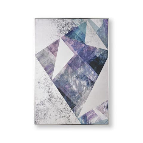 """Graham and Brown 104021 Midnight Aura 39"""" x 28"""" Framed Abstract Painting on Stretched Canvas - Blue"""
