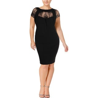 Sangria Womens Plus Special Occasion Dress Lace Inset Cap Sleeves - 24W