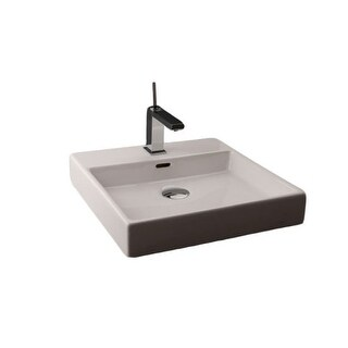 """WS Bath Collections Plain 45W 18"""" Ceramic Wall Mounted Bathroom Sink with Overflow Less Faucet Hole - Optional Single Hole"""