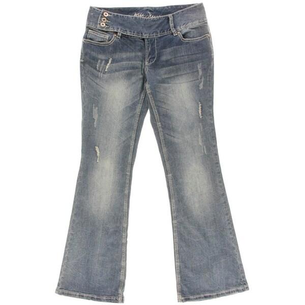 Ariya Jeans Womens Juniors Flare Jeans Embroidered High Waist