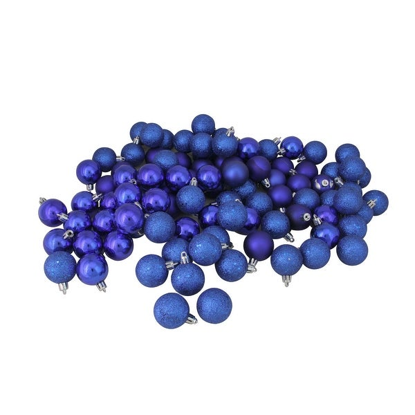 "96ct Royal Blue Shatterproof 4-Finish Christmas Ball Ornaments 1.5"" (40mm)"