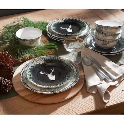 222 Fifth Somers Creek 12 Piece Dinnerware Set, Dorset Pines Black