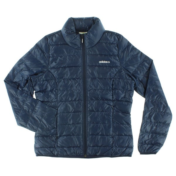 e5d53977bcb83 Shop Adidas Womens Solid Lightweight Down Jacket Dark Blue - Dark Blue White  - M - Free Shipping Today - Overstock.com - 22573913