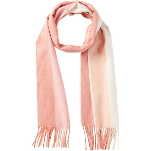 6.25' Coral and Salmon Pink Stylish and Fashionable Tickled Pink Vibrant Stripe Fringe Scarf