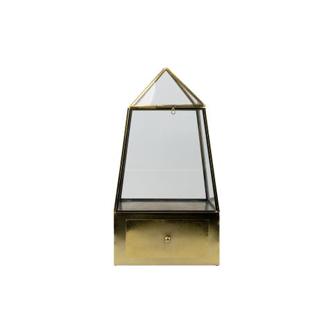 Foreside Home & Garden Gold Metal Terrarium with Drawer