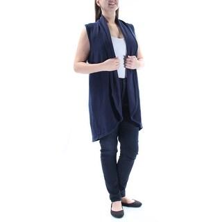 STYLE & COMPANY $49 Womens New 1171 Navy Open Cardigan Sleeveless Sweater L B+B