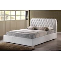 Bianca White Faux Leather Platform Bed w/Tufted Headboard (Queen)