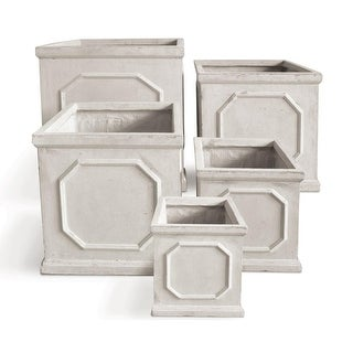 Set of 5 Square Geometric Design Garden Planters with a Sand Color Finish