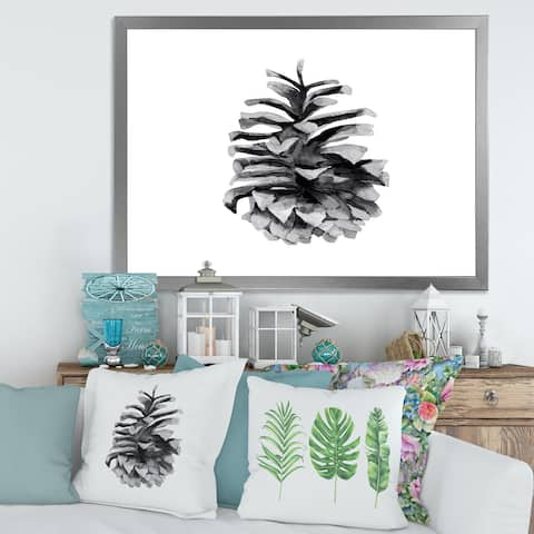 Designart 'Conifer Cone Monochrome' Traditional Framed Art Print