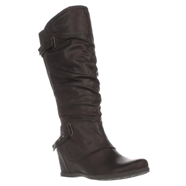 Baretraps Quivina Wedge Knee High Boots, Dark Brown