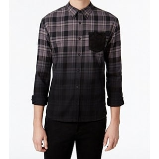 WHT Space White NEW Men's Black Size Medium M Plaid Button Down Shirt