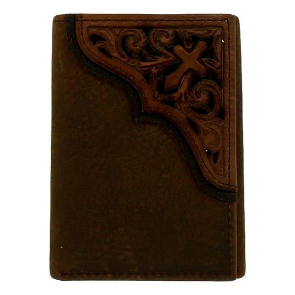 Ariat Western Wallet Mens Trifold Scroll Slots Medium Brown - One size