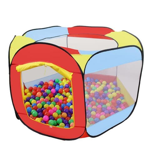 """55"""" Folding Portable Playpen Baby Play Yard Tent With Travel Bag - Colorful - N/A"""