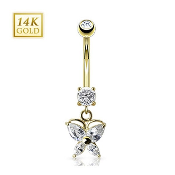 """14 Karat Solid Yellow Gold Marquise CZ Butterfly Navel Belly Button Ring - 14GA 3/8"""" Long"""