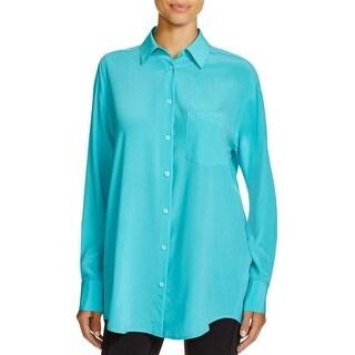 DKNY Womens Button-Down Top Silk Long Sleeves