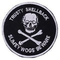 TRUSTY SHELL BACK Embroidered Iron On Motorcycle Biker Vest Patch P110 - Thumbnail 0