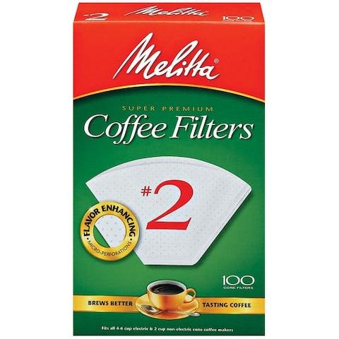 Melitta #2 Cone Coffee Filters, White, 100 Count