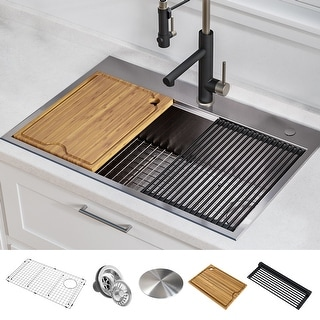 Link to KRAUS Kore Workstation Drop-In Stainless Steel Kitchen Sink Similar Items in Sinks