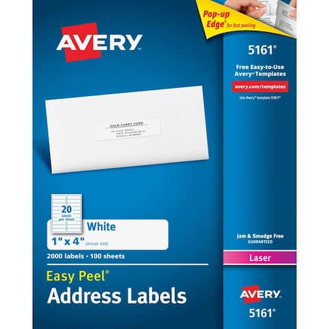 Avery avery easy peel 1x4 white mailing 05161