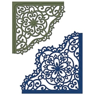 "Heartfelt Creations Cut & Emboss Dies-Blossom Corner, 3.75"" To 4.25"""