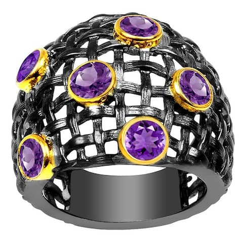 Amethyst Brass Round Fashion Ring by Orchid Jewelry