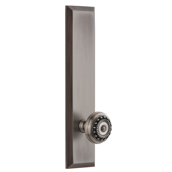 Grandeur FAVPAR_TP_PRV_238_LH Fifth Avenue Solid Brass Tall Plate Left Handed Privacy Door Knob Set with Parthenon Knob and