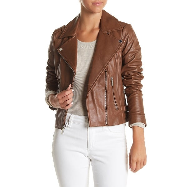 67d39e9ef224 Shop MICHAEL Michael Kors Leather Asymmetric Moto Jacket Dark Camel ...