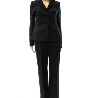 Le Suit NEW Black Two-Piece Women's Size 6 Ruched Collar Pant Suit Set