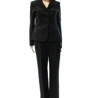 Le Suit NEW Black Women's Size 4 Ruched Collar Three Button Pant Suit