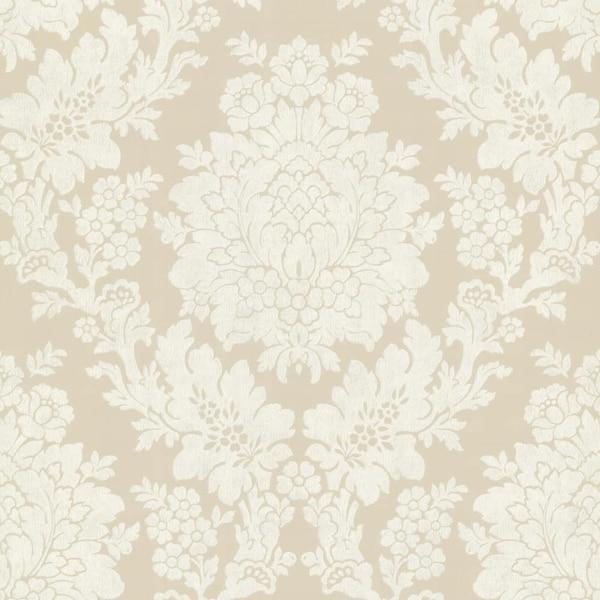 Brewster 344-68714 Liza Beige Roselle Damask Wallpaper - N/A