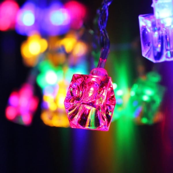 battery operated ice cube led christmas string lights multi color string light2 work