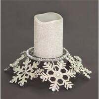 9 in. Silver Snow Drift Snowflake Glittered & Jeweled Pillar Candl