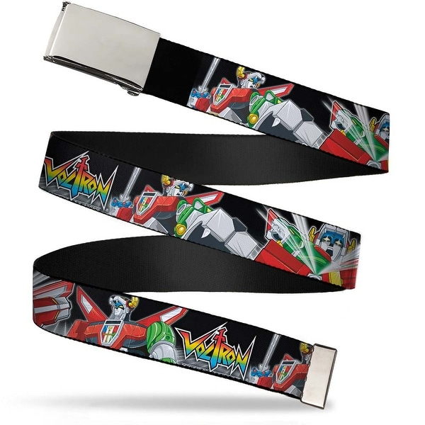 "Blank Chrome 1.0"" Buckle Voltron Logo2 Intro Action Poses Grid Black White Web Belt 1.0"" Wide - S"