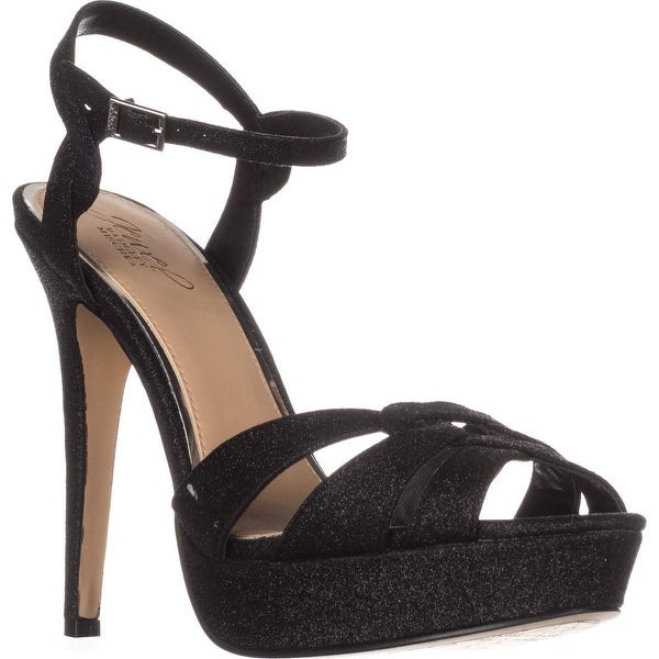 Jewel Badgley Mischka Alysa Evening Sandals, Black Glitter