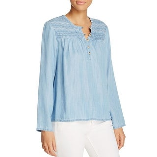 Sanctuary Womens Quinn Casual Top Denim Embroidered