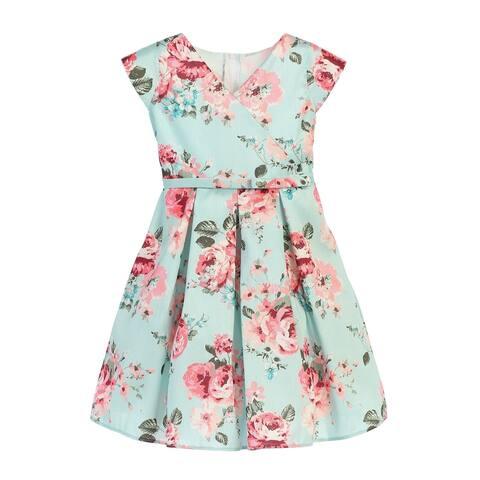 Little Girls Mint Pink Floral Print Crossover Easter Dress 2T-6