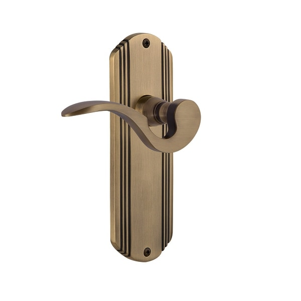 "Nostalgic Warehouse DECMAN_PRV_234_NK Manor Privacy Door Lever Set with Deco Rose for 2-3/4"" Backset Doors"