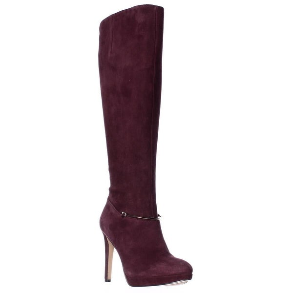 ec9bdc3a3c74 Shop Nine West Pearson Wide-Calf Knee High Boots, Dark Red - 5.5 US ...
