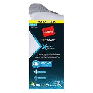 Hanes Ultimate X-Temp Men's No-Show White 6-Pack (Includes 1 Free Bonus Pair)
