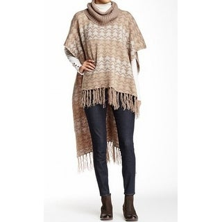 Romeo + Juliet NEW Brown Women's Size Small S Fringed Poncho Sweater